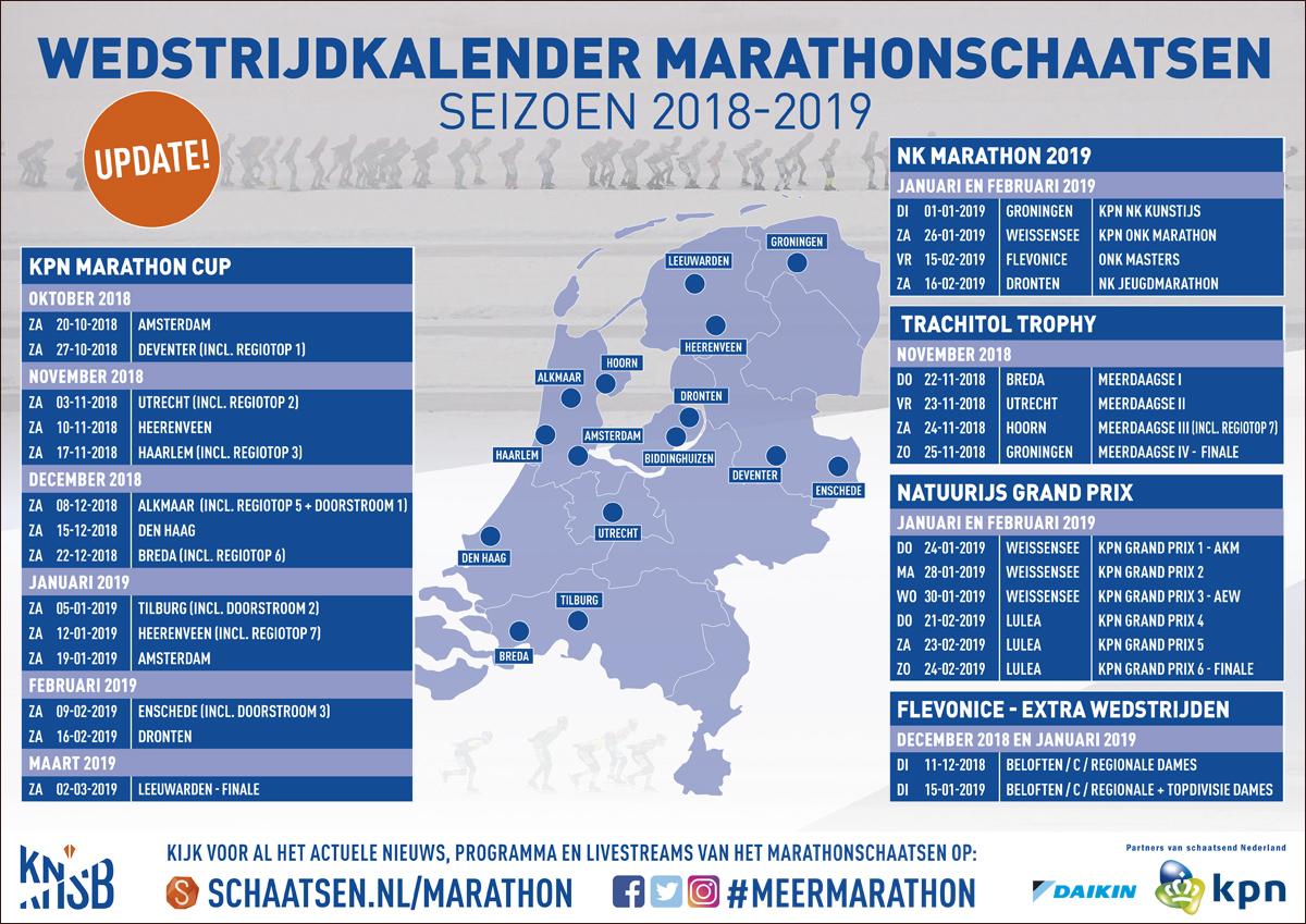KNSB Marathon wedstrijdkalender seizoen 2018-2019 - update!
